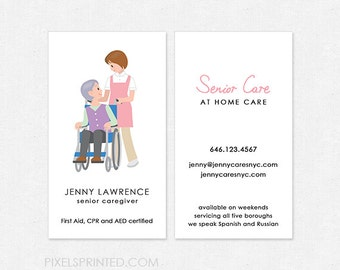 senior care DELUXE business cards - thick, full color both sides - FREE UPS ground shipping