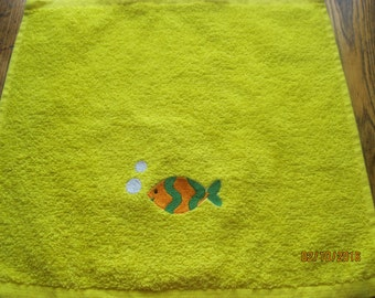 Yellow washcloth facecloth fish embroidered