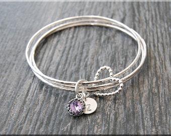 Set of 3 Sterling Silver Bangle Bracelets, Wrapped In Love Birthstone Bracelet Set, Personalized Birthday Bangle, Floating Heart Bangle