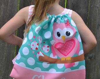 Personalized Sweet Owl Love Drawstring Bag