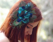 Peacock Feather Hair Clip Fascinator Hydrangea