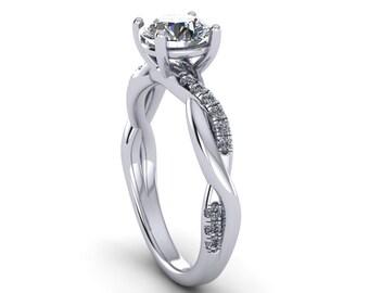 custom rings,diamonds and forever brilliant moissanite engagement ring in 14k white gold, handmade,style 163WDM