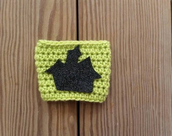 Halloween coffee cozy with Sparkly Haunted House*Ready to ship the next business day*