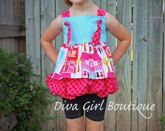 Custom Boutique Girls Clothing - Bubble Knot Top - Boutique clothing - Girls Boutique - Childrens Knot Top - Girls Bubble Top - Over the Top
