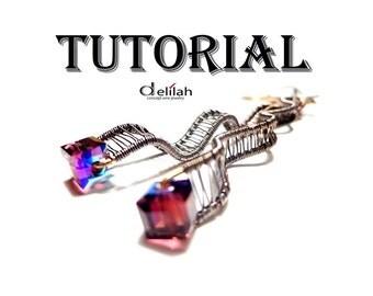 Purple Waves Earrings Tutorial Wire Wrap Tutorial Purple Earrings Tutorial Crystal Earring Tutorial Oxidized Earrings Tutorial Wire Tutorial