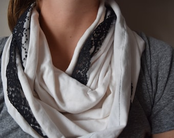 White Jersey with Black Lace Trim Infinity Scarf - Slight mistake Black Lace does not fit totally around see photos for details