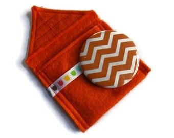Orange Felt Pouch With Small Pocket Mirror- Fabric Covered Handbag Mirror