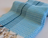 Turkish towel in Diamond Pattern Turquoise Blue hand loomed peshtemal towel soft cotton