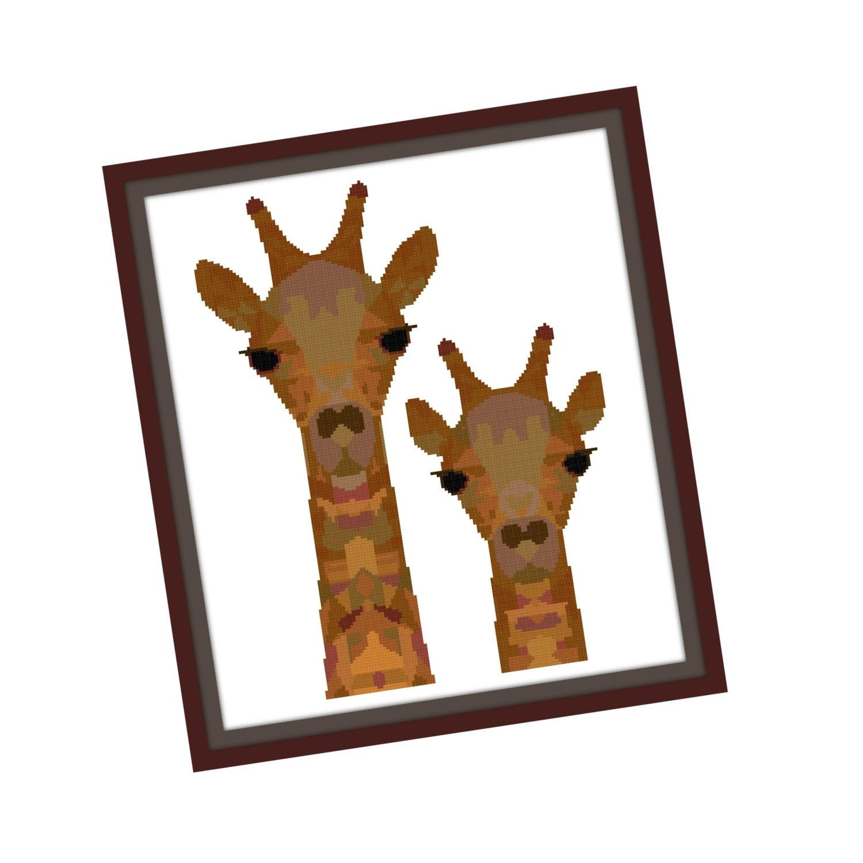 Giraffe Cross Stitch Pattern Modern Cross Stitch Pattern - photo#34