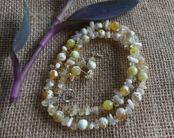 20 Inch Yellow Faceted Fire Crab Agate Necklace with Earrings