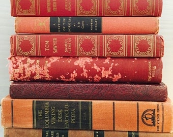 Red Vintage Books, Book Collection, Book Bundle, Photography Props, Shades of Red Books ,Instant library