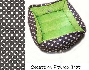 Polka Dot Pet Bed, CUSTOM, Dog Cat, Travel, 20 In Square Large, 32 Color Choice, Slip-proof Base, Couture, Artistic, Collapsible, Washable