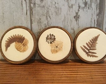 Handmade Mike Day Ceramic Fern and Leaves Coasters, Set of 3