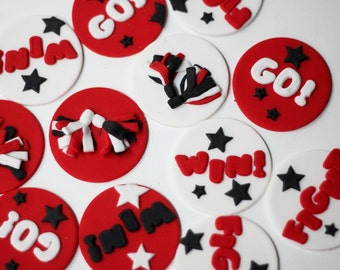 Fondant Cheer Cupcake Toppers - Cheerleading Cupcake Toppers - Cheerleader Cupcake Topper - Cheer Toppers