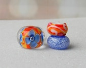 Montego Brights - Bright and Cheerful Lampwork Bead Trio - Fire Imp Lampwork Beads SRA