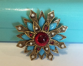 Turquoise and Ruby Red Glass Brooch, Pearl, Flower, Signed ART, 1960s Vintage Jewelry, Gift for Her