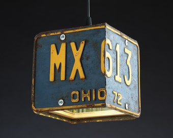 Ohio License Plate Pendant Shade Square - Man Cave - Garage - Repurposed - Upcycle - Automotive Lamp - Transportation Light - Handmade