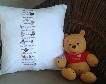 Pooh pillow embroidered nursery decor storytelling
