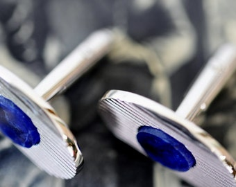 Vintage DANTE Silver Cuff links with Blue Lapis Stones / vintage 1960s cuff links / vintage jewelry / blue stone