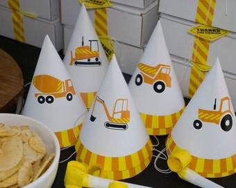 Construction Party Hats | Birthday Party Hats | Instant Download