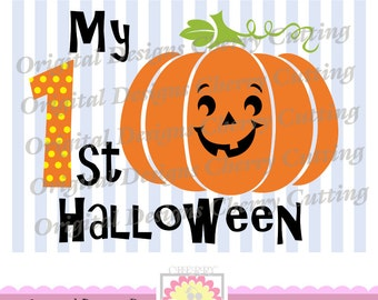 My 1st Halloween with pumpkin face, My first Halloween SVG, Silhouette Cut Files, Cricut Cut Files DIGICUT03 -Personal and Commercial Use