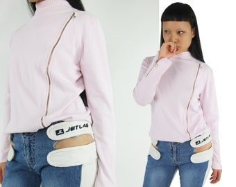 90s Heart Shaped Zipper Pull  Baby Pink Knit Top