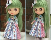 Blythe Dress Pink Blue Patchwork Flowers Cats