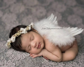 Baby Boy or Girl White Feathered Angel Wings - Perfect Newborn or Maternity Photo Prop