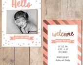 Coral Watercolor Rose Gold Birth Announcement Card Custom Photo Card 5x7 Professionally printed cards or Printable