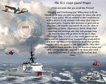 MILITARY- U.S. Coast Guard Prayer Personalized Gift and Keepsake