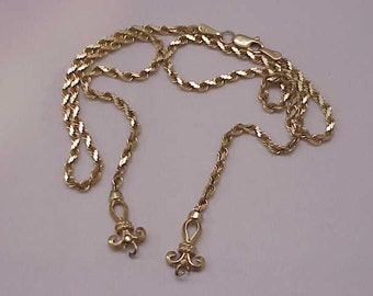 "Amazing!  Estate  Ladies 14k Yellow Gold  Rope  Lavaliere Necklace,17"", 11.1gr"