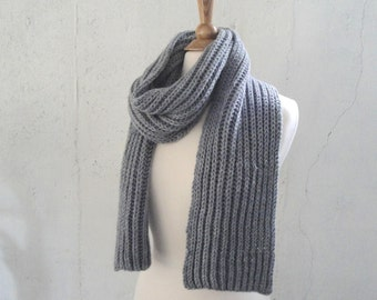 Gray Knit Scarf, Long Length, Men or Women, Acrylic Wool, Hand Knitted, Warm Winter Fashion