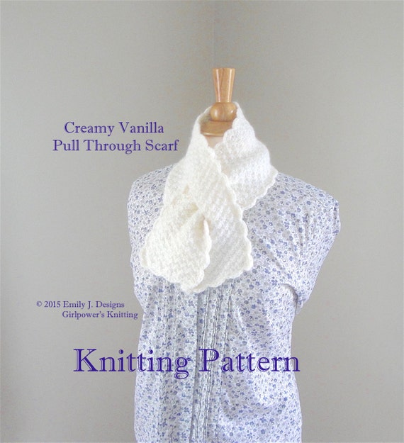 Knitting Pattern For Pull Through Scarf : Pull Through Scarf PDF Knitting Pattern Worsted Yarn Lion