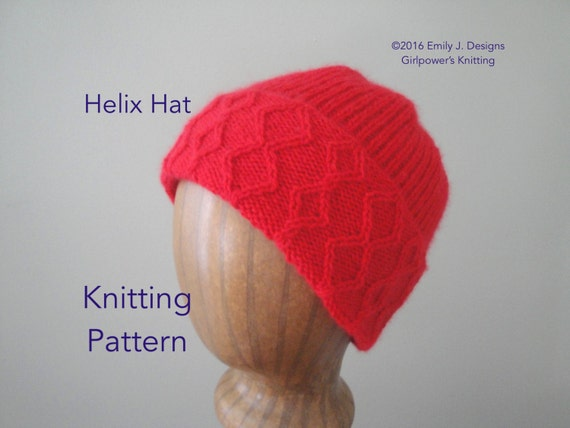 Items similar to Helix Hat Knitting Pattern, Watch Cap, Cabled Brim, Rib Knit...