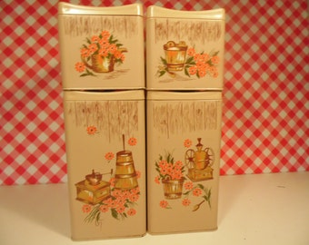 Ransburg Kitchen Canisters - Set Of 4 - Metal - Early American - Country Decor