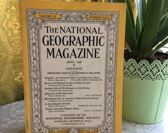 April 1929, Vintage Magazine, National Geographic,