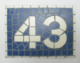 House Number Plate No. 43, Original French Blue and White Sign, Mosaic Signs, French Signs, French House Number Plate, Blue and White (076)