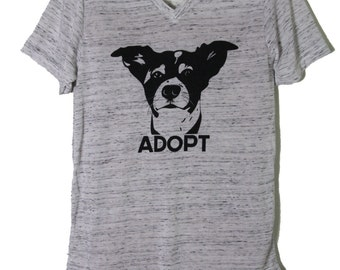 New! ALL SIZES Men's unisex white marble V neck jersey ADOPT rex dog rescue t shirt Benefits Rescue efforts