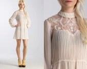 Vintage 70s LACE Sheer Victorian Mini Boho Hippie Dress