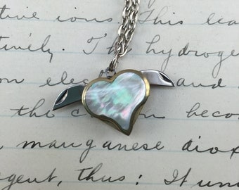 Vintage Heart Knife Pendant - Necklace - Mother of Pearl - Valentine necklace - letter opener charm