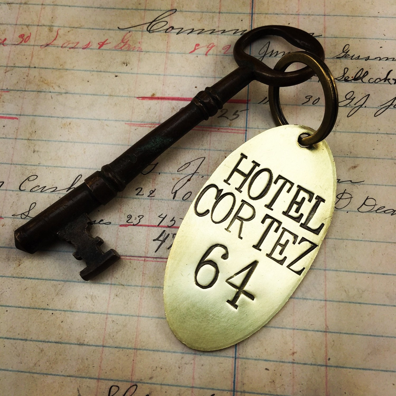 Custom Hand Stamped Hotel Room Key Tags Brass Key Chain