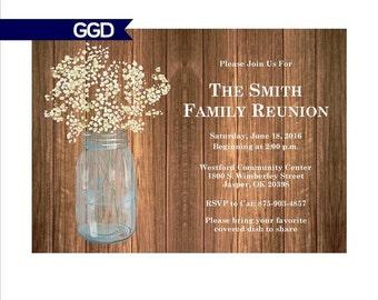 Family Reunion Invitation with Mason Jar, mason jar invitation, family reunion invitation
