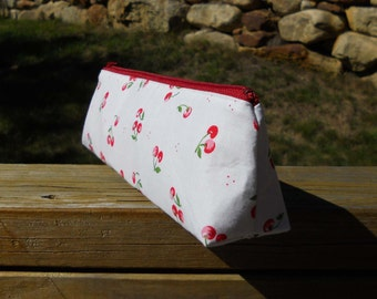 Slim Pencil Case, Cherries on White, Cherry Pencil Bag, One of a Kind