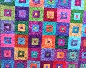 Bright Button Boxes- Batik squares- Toddler Quilt