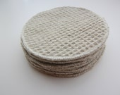 "Organic Color grown Weave Cotton Facial Rounds, Double Layer 4"" Diameter, Choose your Quantity and Thread"