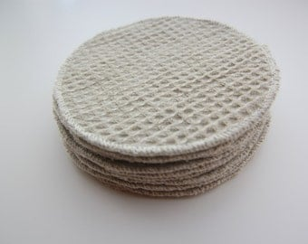"""NEW! Organic Colorgrown Weave Cotton Facial Rounds Set of 12 -- Double Layer 4"""" Diameter"""