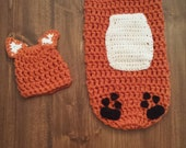 Crochet Fox Cocoon, Baby Fox Hat, Newborn Fox Beanie, Infant Fox Hat, Baby Photo Prop, Fox Cocoon, Fox Costume