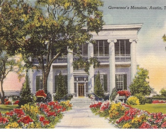 Vintage Linen Postcard...Governor's Mansion, Austin, Texas...Unused...no. 1538
