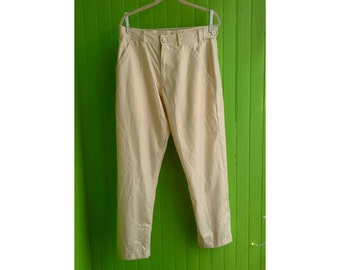 Vintage Comme des Garcons Homme Metallic Gold Men's Flat Fronted Pants Japan 1990s
