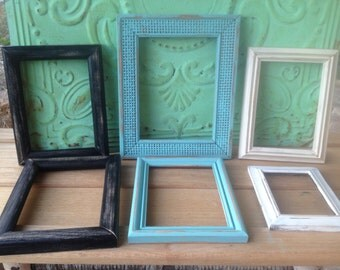 Set of Six Distressed Frames, Shabby Chic Frame Set, Mixed Lot Wooden Frames, Crafting Supplies Frames